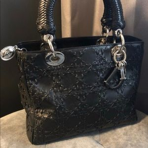 Dior lady Medium black leather basket